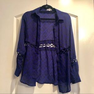 LUCCA COUTURE royal blue blouse